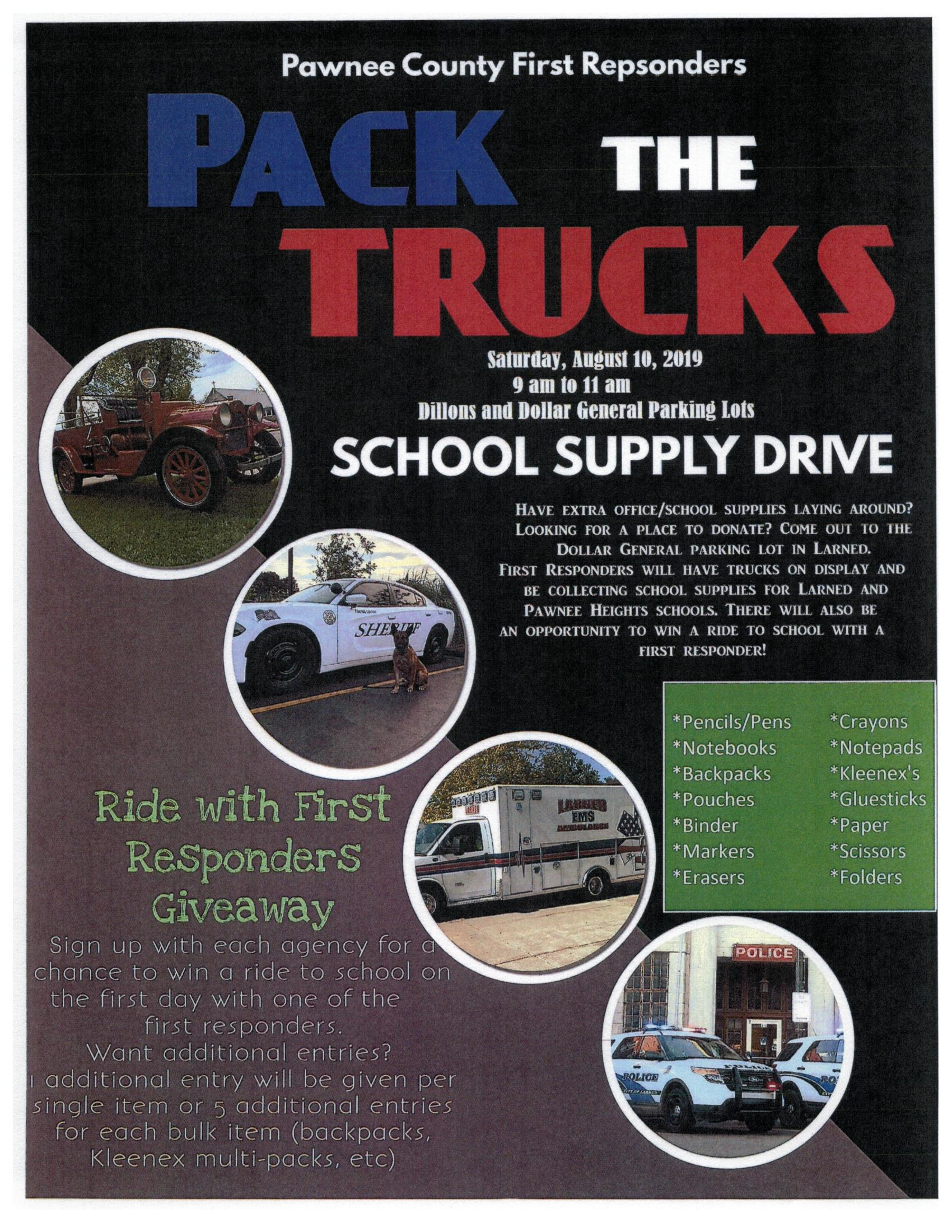 Pack the Trucks Poster for school supply drive